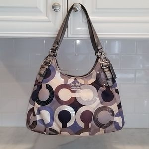Coach Maggie Madison OpArt Sateen Scarf Hobo Bag